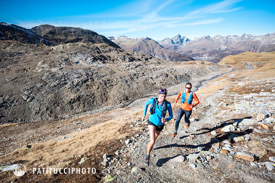 Two women trail running on Piz Languard, above Pontresina, Switzerland