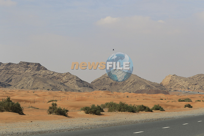 Desert landscape near Jebel Maleihah during Stage 1, the Dubai Silicon Oasis Stage, of the 2016 Dubai Tour starting at the Dubai International Marine Club and running 175km to Fujairah, Mina Seyahi, Dubai, United Arab Emirates. 3rd February 2016.<br /> Picture: Eoin Clarke | Newsfile<br /> <br /> <br /> All photos usage must carry mandatory copyright credit (&copy; Newsfile | Eoin Clarke)