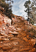 A teep section of the Grandview Trail is a good example of rip rap, the cobblestone of native rock, used to build much of the trail in Grand Canyon National Park.