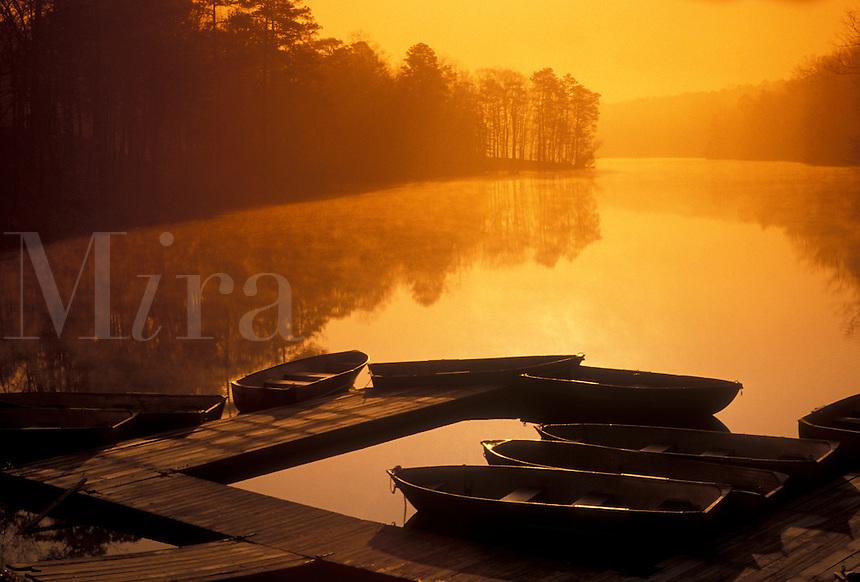 AJ3959, rowboats, Stone Mountain, sunrise, sunset, lake, Atlanta, Stone Mountain Park, Georgia, Rowboats at sunrise on Venable Lake in Georgia's Stone Mountain Park near Atlanta in the state of Georgia.