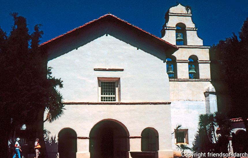 California Missions: Mission San Juan Bautista--Church Facade.