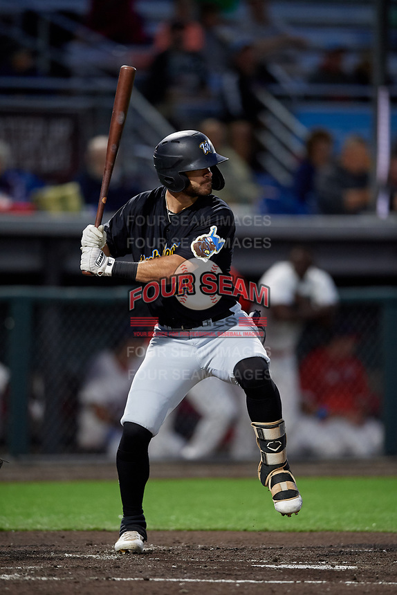West Virginia Black Bears Brendt Citta (28) at bat during a NY-Penn League game against the Auburn Doubledays on August 23, 2019 at Falcon Park in Auburn, New York.  West Virginia defeated Auburn 6-5, the second game of a doubleheader.  (Mike Janes/Four Seam Images)