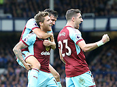 1st October 2017, Goodison Park, Liverpool, England; EPL Premier League Football, Everton versus Burnley; Jeff Hendrick of Burnley celebrates with Stephen Ward after giving Burnley a 1-0 lead after 20 minutes