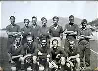 BNPS.co.uk (01202 558833)<br /> Pic: Bellmans/BNPS<br /> <br /> 'SAS Wanderers' - inn Norway, eve the SAS football team took no prisoners!.<br /> <br /> A fascinating trove of SAS records including some of the first photographs of the elite force which have never been seen before has been unearthed. <br /> <br /> The extensive assortment, also including medals and documents, was accumulated by war hero Lance Corporal William James Cooke at the end of World War Two. <br /> <br /> Remarkable images of Cooke's previously unrevealed wartime exploits show him serving behind enemy lines in occupied France and assisting with the liberation of Norway. <br /> <br /> His accomplishments have come to light after a family member presented the bequeathed collection to Hampshire-based auctioneer Bellmans, which will sell it tomorrow.