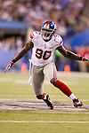 New York Giants defensive lineman Jason Pierre-Paul (90) plays defense during the NFL Super Bowl XLVI football game against the New England Patriots on Sunday, Feb. 5, 2012, in Indianapolis. The Giants won 21-17 (AP Photo/David Stluka)...