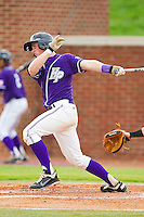 Spencer Angelis #11 of the High Point Panthers follows through on his swing against the VMI Keydets at Willard Stadium on March 31, 2012 in High Point, North Carolina.  The Panthers defeated the Keydets 2-0.  (Brian Westerholt/Four Seam Images)