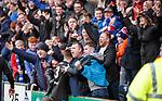 Rangers fans with goalscorer Declan John