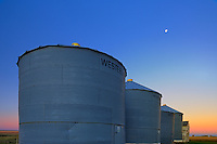Grain bins at dawn<br /> Swift Current<br /> Saskatchewan<br /> Canada