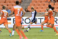 Houston, TX - Saturday July 15, 2017: Estelle Johnson takes a shot at the Houston goal and scores during a regular season National Women's Soccer League (NWSL) match between the Houston Dash and the Washington Spirit at BBVA Compass Stadium.
