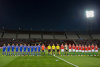 Teams of Israel and Hungary line up before the friendly football match Hungary playing against Israel in Budapest, Hungary on August 15, 2012. ATTILA VOLGYI