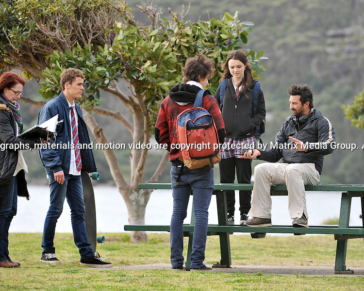 20th August, 2014 SYDNEY AUSTRALIA<br /> EXCLUSIVE <br /> Pictured, Phillipa Northeast, Jackson Gallagher and Alec Snow  of Home and Away doing scenes at  cold and windy Palm Beach. Starting off with tracksuits and jackets and then changing into summery light clothes.<br /> <br /> *No internet without clearance*.MUST CALL PRIOR TO USE +61 2 9211-1088. Matrix Media Group.Note: All editorial images subject to the following: For editorial use only. Additional clearance required for commercial, wireless, internet or promotional use.Images may not be altered or modified. Matrix Media Group makes no representations or warranties regarding names, trademarks or logos appearing in the images.