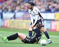 Bolton Wanderers' Jem Karacan and Leeds United's Luke Ayling<br /> <br /> Photographer Rachel Holborn/CameraSport<br /> <br /> The EFL Sky Bet Championship - Bolton Wanderers v Leeds United - Sunday 6th August 2017 - Macron Stadium - Bolton<br /> <br /> World Copyright &copy; 2017 CameraSport. All rights reserved. 43 Linden Ave. Countesthorpe. Leicester. England. LE8 5PG - Tel: +44 (0) 116 277 4147 - admin@camerasport.com - www.camerasport.com