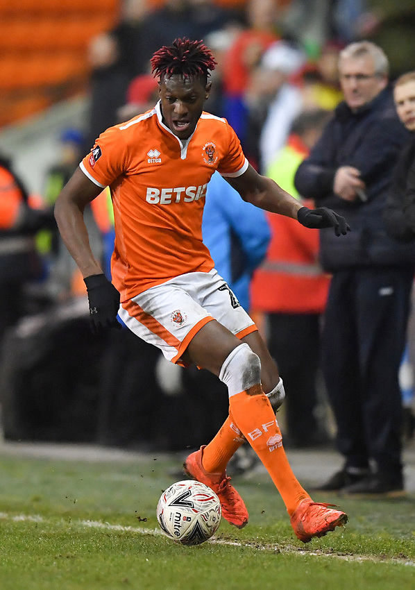 Blackpool's Armand Gnanduillet<br /> <br /> Photographer Dave Howarth/CameraSport<br /> <br /> The Emirates FA Cup Second Round Replay - Blackpool v Solihull Moors - Tuesday 18th December 2018 - Bloomfield Road - Blackpool<br />  <br /> World Copyright © 2018 CameraSport. All rights reserved. 43 Linden Ave. Countesthorpe. Leicester. England. LE8 5PG - Tel: +44 (0) 116 277 4147 - admin@camerasport.com - www.camerasport.com