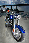 SAN DIEGO, CA - JULY 22:  A Harley Davidson Fatboy in front of the Coronado Bridge during the Harley Davidson Release test ride for Stern Magazine on July 22 in San Diego, California. (Photo by Donald Miralle) *** Local Caption *** Helmut Werb
