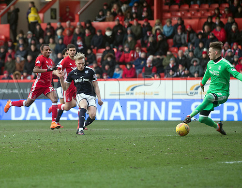 17th March 2018, Pittodrie Stadium, Aberdeen, Scotland; Scottish Premier League football, Aberdeen versus Dundee; Freddie Woodman of Aberdeen saves the shot from A-Jay Leitch-Smith of Dundee