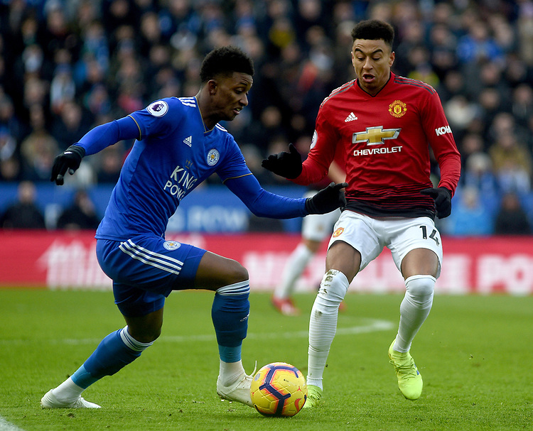 Manchester United's Jesse Lingard battles with Leicester City's Demarai Gray<br /> <br /> Photographer Hannah Fountain/CameraSport<br /> <br /> The Premier League - Leicester City v Manchester United - Sunday 3rd February 2019 - King Power Stadium - Leicester<br /> <br /> World Copyright © 2019 CameraSport. All rights reserved. 43 Linden Ave. Countesthorpe. Leicester. England. LE8 5PG - Tel: +44 (0) 116 277 4147 - admin@camerasport.com - www.camerasport.com