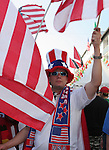 17 June 2006: American fans march through town on their way to the stadium. Italy played the United States at Fritz-Walter Stadion in Kaiserslautern, Germany in match 25, a Group E first round game, of the 2006 FIFA World Cup.