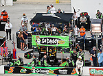 Mark Martin's, driver of the (5) GoDaddy.com Chevrolet, pit crew awaits him during the Samsung Mobile 500 Sprint Cup race at Texas Motor Speedway in Fort Worth,Texas.