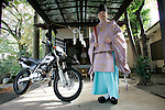 Shinto priest Oosawa Harutaka has two religious and one of them is motorcycling. Motorbikes are always close to the family private temple located in Koganei-shi, Tokyo, Japan.