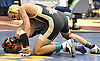 Josiah Encarnacion of Wantagh, top, battles Joe Foxen of Garden City at 99 pounds during the Nassau County Divsision I varsity wrestling quarterfinals at Hofstra University on Saturday, Feb. 11, 2017. Encarnacion won the match by fall at 5:42.