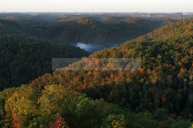 The view from a fire tower in Robinson Forest just after sunrise in Breathitt Co., Ky., on Saturday, Oct. 15, 2011. Photo by Becca Clemons