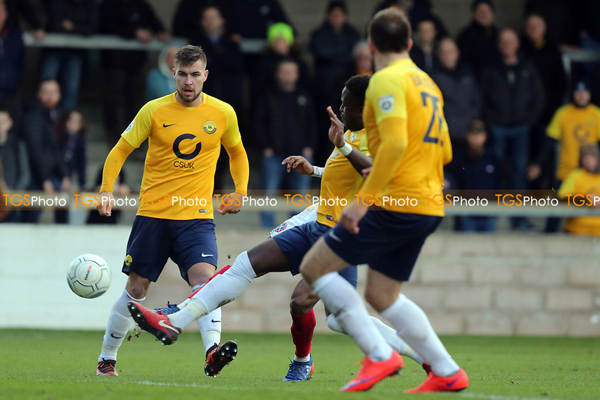 Fejiri Okenabirhie (hidden) of Dagenham  scores the opening goal during Torquay United vs Dagenham & Redbridge, Vanarama National League Football at Plainmoor on 17th February 2018