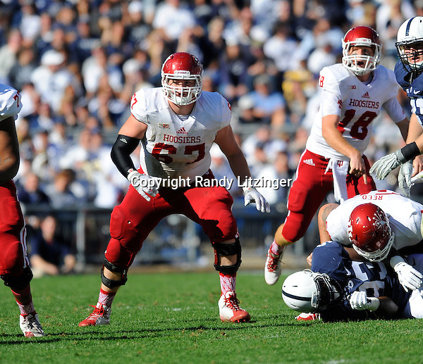 10 October 2015:  Indiana G Dan Feeney (67) pass blocks. The Penn State Nittany Lions defeated the Indiana Hoosiers 29-7 at Beaver Stadium in State College, PA. (Photo by Randy Litzinger/Icon Sportswire)