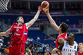 7th September 2017, Fenerbahce Arena, Istanbul, Turkey; FIBA Eurobasket Group D; Belgium versus Serbia; Point Guard Vasilije Micic #22 of Serbia and Center Boban Marjanovic #51 of Serbia jump for the ball during the match