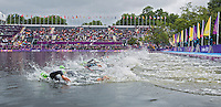 04 AUG 2012 - LONDON, GBR - Competitors start the swim at the women's London 2012 Olympic Games Triathlon in Hyde Park, London, Great Britain (PHOTO (C) 2012 NIGEL FARROW)