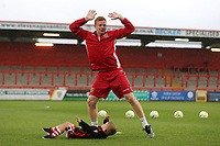 A young Stevenage mascot  falls over and one of the matchday staff members protests his innocence during Stevenage vs Norwich City, Friendly Match Football at the Lamex Stadium on 11th July 2017
