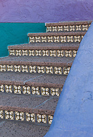stair patterns and bright colors in La Placitas Village.