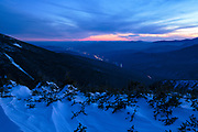 Night blue hour from Greenleaf Trail on Mount Lafayette in the White Mountains, New Hampshire USA on a cloudy winter day.