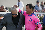 Corey Nakatani giving trainer Jerry Hollendorfer a pat on the head winner of the John C. Mabee Stakes at Del Mar Race Course in Del Mar, California on August 12, 2012.