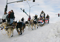 Spectators watch Warren Palrey's team run down the Cordova hill in Anchorage on Saturday March 1st during the ceremonial start day of the 2008 Iidtarod Sled Dog Race.