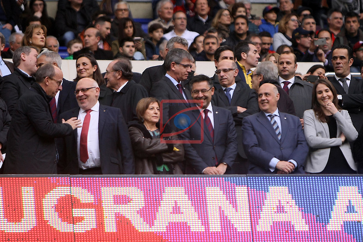 League Santander 2016/2017. Game: 21.<br /> FC Barcelona vs Athletic Club: 3-0.<br /> Carme Forcadell &amp; Josep M. Bartomeu.