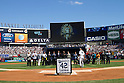 Mariano Rivera (Yankees),<br /> SEPTEMBER 22, 2013 - MLB :<br /> Mariano Rivera of the New York Yankees is presented with a speaker cabinet by the band Metallica during his retirement ceremony before the Major League Baseball game against the San Francisco Giants at Yankee Stadium in The Bronx, New York, United States. (Photo by Thomas Anderson/AFLO) (JAPANESE NEWSPAPER OUT)