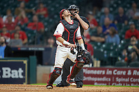 Houston Cougars catcher Tucker Redden (3) chases a fly ball against the Kentucky Wildcats in game two of the 2018 Shriners Hospitals for Children College Classic at Minute Maid Park on March 2, 2018 in Houston, Texas.  The Wildcats defeated the Cougars 14-2 in 7 innings.   (Brian Westerholt/Four Seam Images)