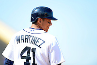 Detroit Tigers designated hitter Victor Martinez #41 on first during a Spring Training game against the Atlanta Braves at Joker Marchant Stadium on February 27, 2013 in Lakeland, Florida.  Atlanta defeated Detroit 5-3.  (Mike Janes/Four Seam Images)