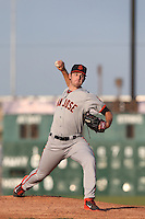 Chris Stratton #28 of the San Jose Giants pitches against the Lancaster JetHawks at The Hanger on May 3, 2014 in Lancaster, California. San Jose defeated Lancaster, 5-4. (Larry Goren/Four Seam Images)