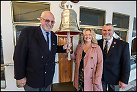 BNPS.co.uk (01202 558833)<br /> Pic: PhilWilkinson/BNPS<br /> <br /> Julie Harding (McPherson) is reunited with surgeon Eric Birkbeck(l) and his assistany Andy Travis(r) on the RY Britannia.
