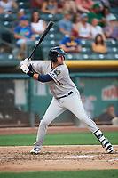 Scott Van Slyke (21) of the New Orleans Baby Cakes bats against the Salt Lake Bees at Smith's Ballpark on June 8, 2018 in Salt Lake City, Utah. Salt Lake defeated New Orleans 4-0.  (Stephen Smith/Four Seam Images)