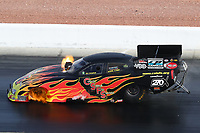 Oct 29, 2016; Las Vegas, NV, USA; NHRA funny car driver Jim Campbell has an engine fire during qualifying for the Toyota Nationals at The Strip at Las Vegas Motor Speedway. Mandatory Credit: Mark J. Rebilas-USA TODAY Sports