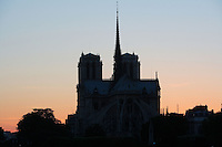 Notre Dame de Paris, 1163 ? 1345, initiated by the bishop Maurice de Sully, Ile de la Cité, Paris, France; view against the sun light. Picture by Manuel Cohen