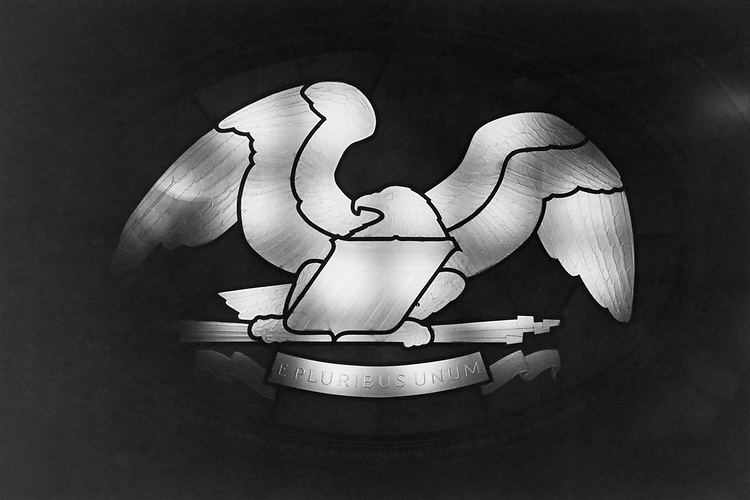 On the ceiling of the House chmaber an oval area surronds this eagle completely illuminated by the lights recessed on Sep. 10, 1991. (Photo by Maureen Keating/CQ Roll Call via Getty Images)