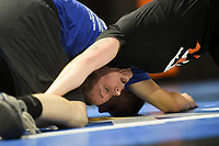NWA Democrat-Gazette/CHARLIE KAIJO Coach Ashley Pagonis (foreground) demonstrates a wrestling move with  coach Alvie Killingsworth during a women's wrestling camp, Monday, June 3, 2019 at the Honey Badger Wrestling Club in Bentonville<br />