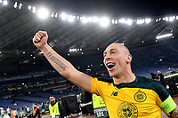 7th November 2019, Rome, Italy; UEFA Europa League football , group stages, Lazio versus Glasgow Celtic; Scott Brown captain of Celtic celebrates the victory at the end of the match - Editorial Use