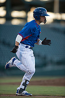 AZL Cubs shortstop Levi Jordan (4) hustles down the first base line during an Arizona League game against the AZL Brewers at Sloan Park on June 29, 2018 in Mesa, Arizona. The AZL Cubs 1 defeated the AZL Brewers 7-1. (Zachary Lucy/Four Seam Images)