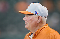 Texas Longhorns head coach Augie Garrido #16 prior to the game against the Sam Houston State Bearkats at Minute Maid Park on March 2, 2014 in Houston, Texas.  The Longhorns defeated the Bearkats 3-2 to finish the tournament 3-0.  (Brian Westerholt/Four Seam Images)