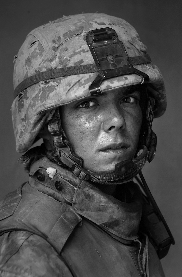 Corporal Michael Rials, 21, Dallas, TX, 1st Platoon, Kilo Company, 3rd Battalion 1st Marine Regiment. 1st Marine Division, United States Marine Corps at the company's firm base in Haditha, Iraq on Thursday, Oct. 12, 2005.