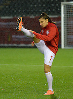 20151130 - LEUVEN ,  BELGIUM : Serbian Jovana Damnjanovic  pictured during the female soccer game between the Belgian Red Flames and Serbia , the third game in the qualification for the European Championship in The Netherlands 2017  , Monday 30 November 2015 at Stadion Den Dreef  in Leuven , Belgium. PHOTO DIRK VUYLSTEKE